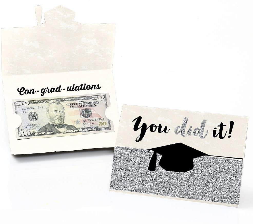 Big Dot of Happiness Silver - Tassel Worth The Hassle - Graduation Money Holder Cards - Set of 8