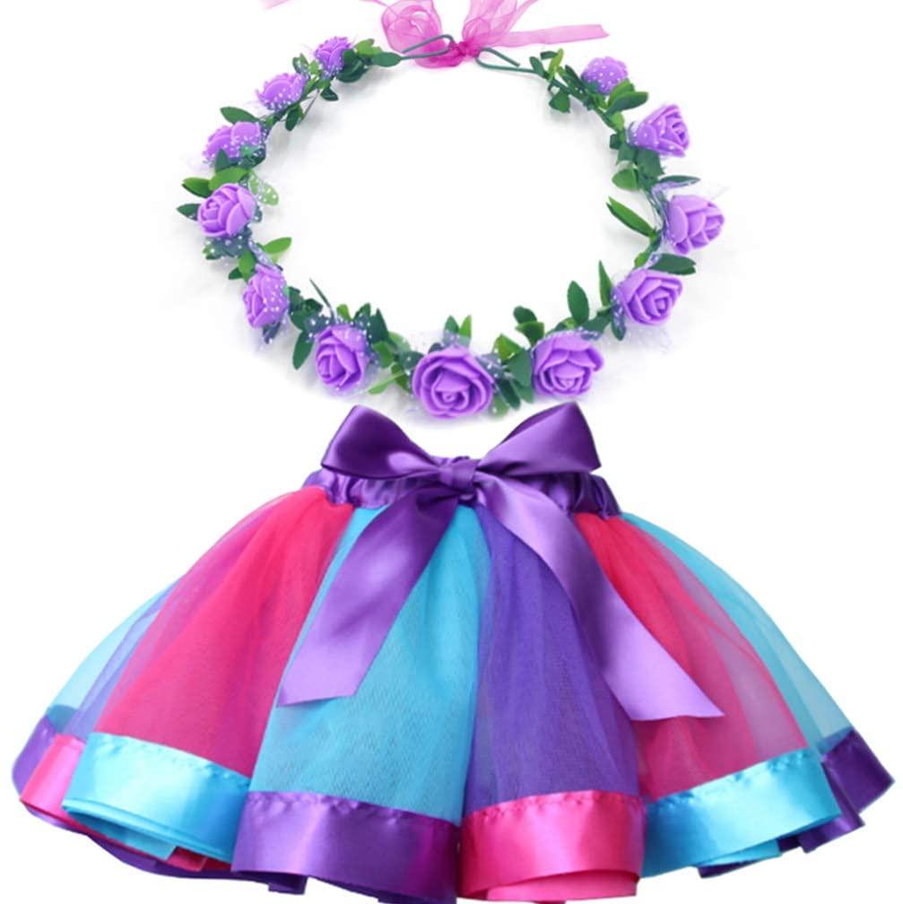 MY-PRETTYGS Layered Tulle Ballet Rainbow Tutu Skirt with Flower Crown Wreath Headband (Deep Purple, M,2-4 T)