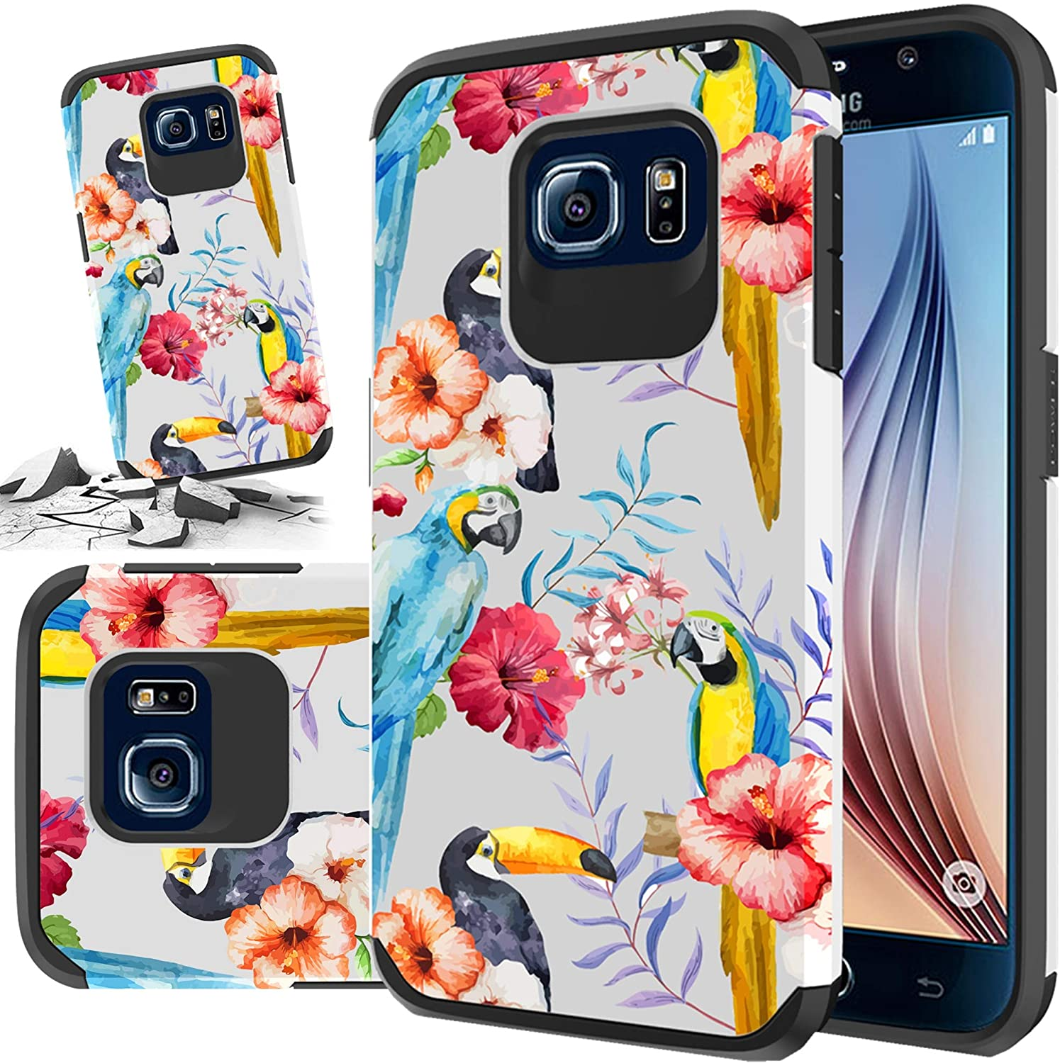 Phone Case Compatible with [ Samsung Galaxy S6 ] [ Storm Buy ] Shockproof 3D Textured Vibrant Protective Phone Case Cover for Galaxy S6 (Bird)
