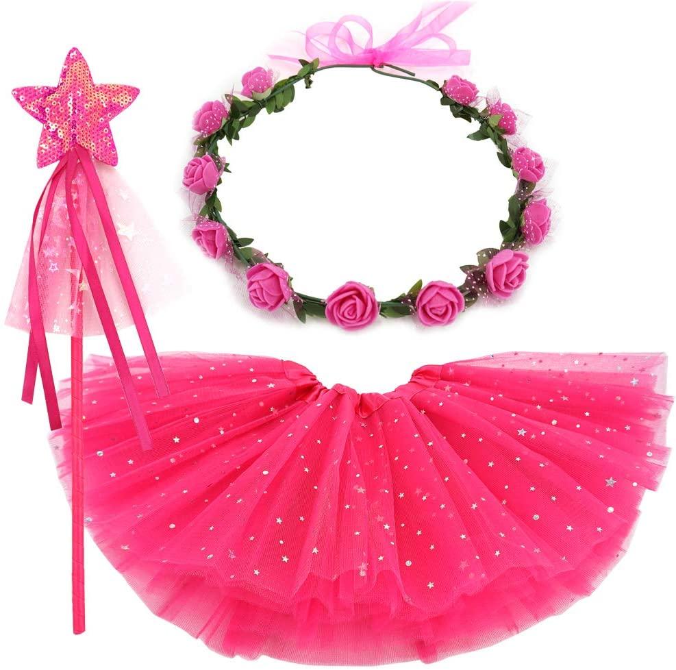 BGFKS Toddler Girls Dress Up Tutu Skirt with Flower Crown Wreath Headband and Wand.(Hot Pink,4-8X)