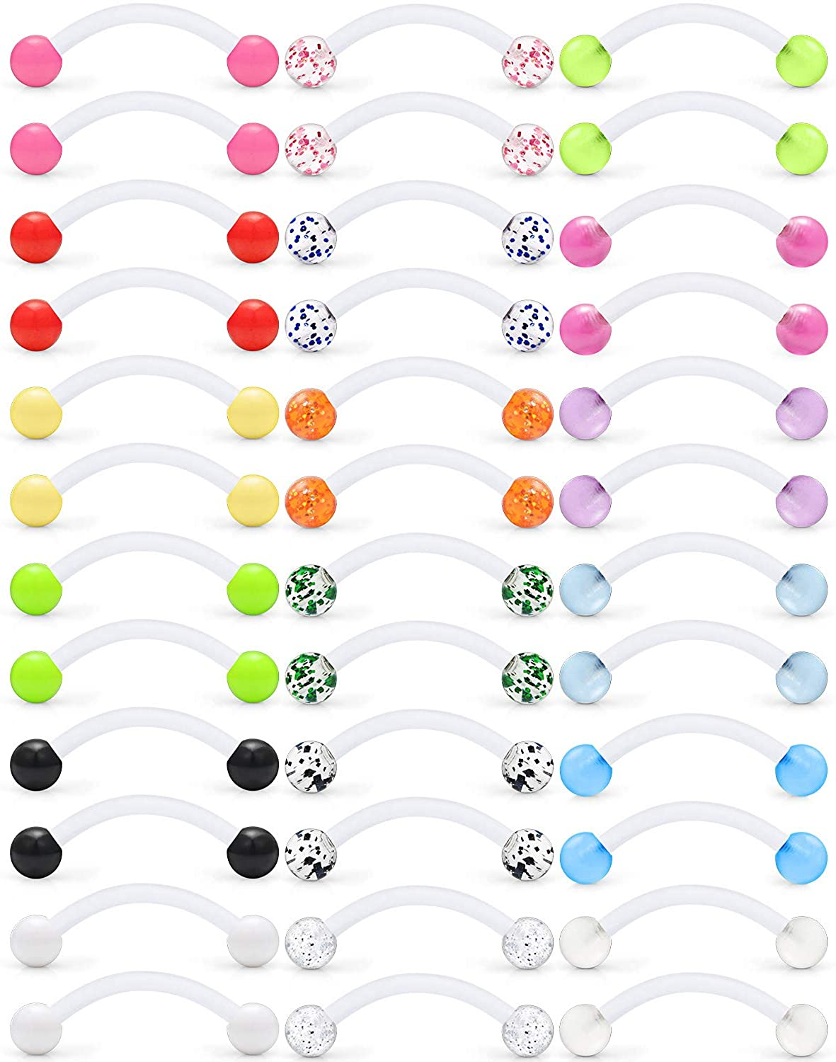 Ftovosyo 14G 16mm Glitter Bioflex Flexible Acrylic Curved Barbell Snake Eyes Tongue Nipple Ring Body Piercing Jewelry Retainer 8-36PCS