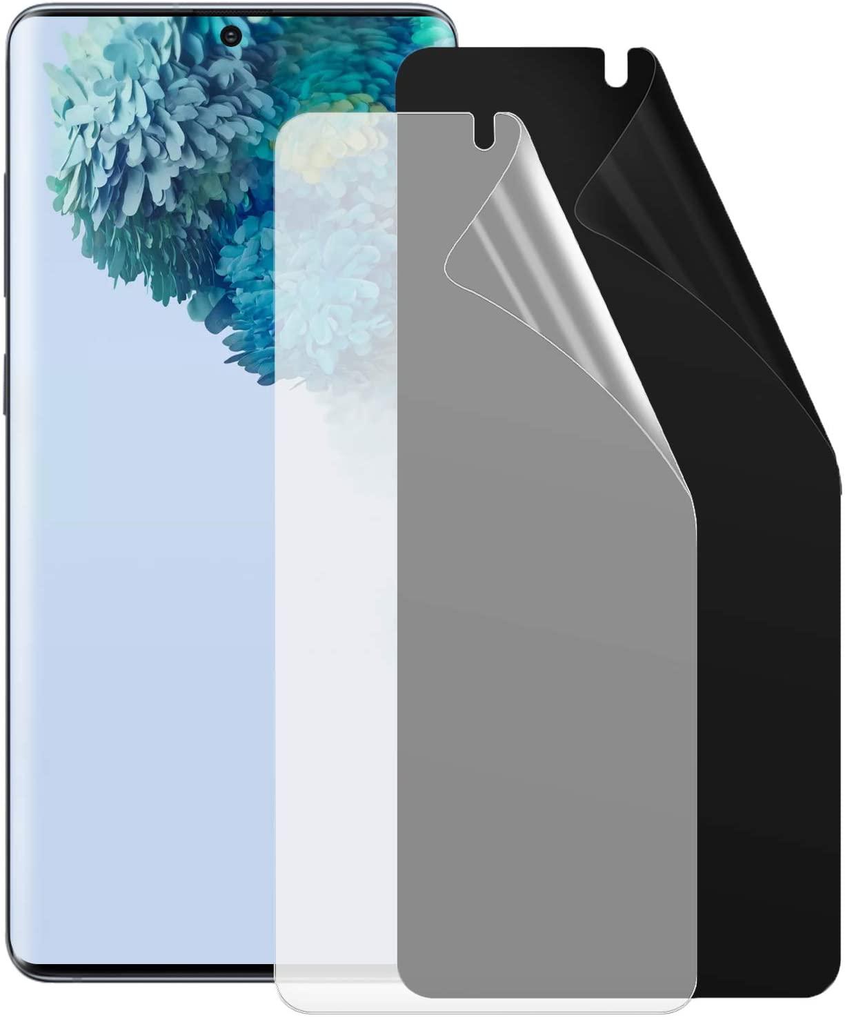 LELANG Galaxy S20 Privacy Screen Protector, [2 Pack] [Anti-spy] [Darken Screen] [Fingerprint Unlock] [High Definition] TPU Protective Film for Samsung Galaxy S20 (S20 5G, 6.2 inch)
