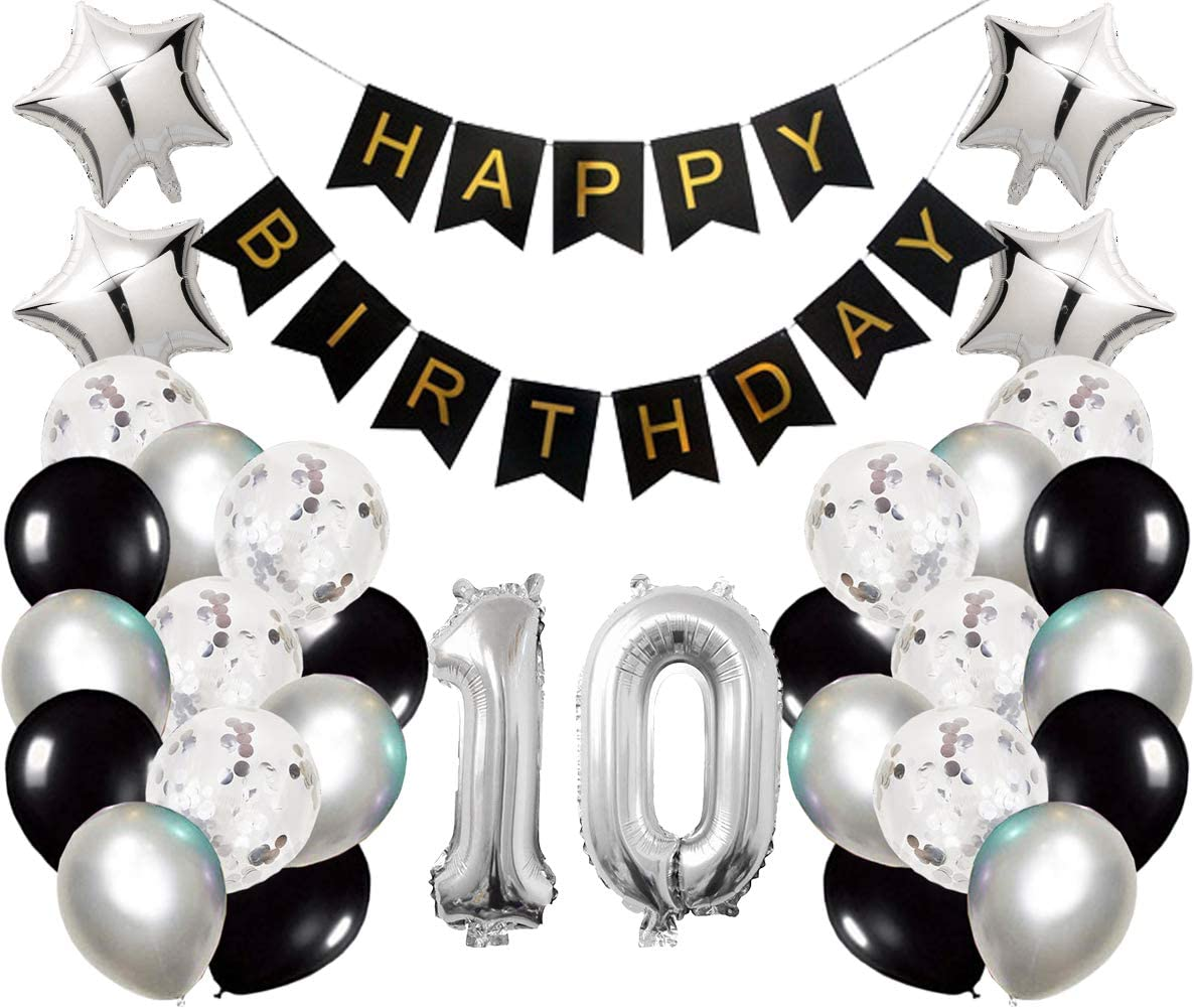 10th Birthday Party Decorations Kit Happy Birthday Banner with Number 10 Birthday Balloons for Birthday Party Supplies 10th Silver and Black Birthday Party Pack