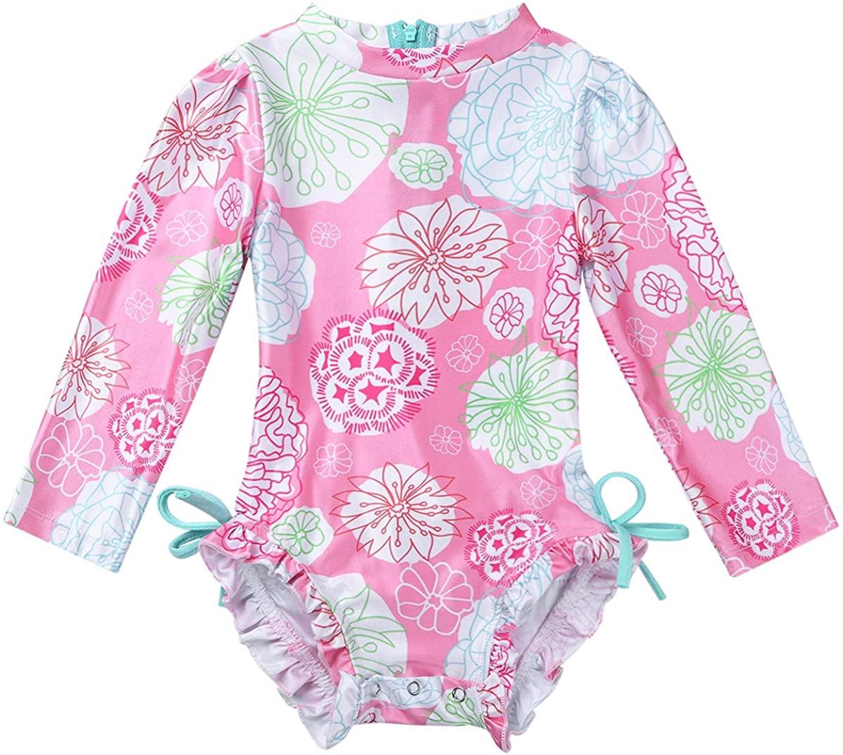 JanJean Baby Toddler Girls Swimsuit Rash Guard Flower Swimwear Long Sleeve One-Piece Sun Protection
