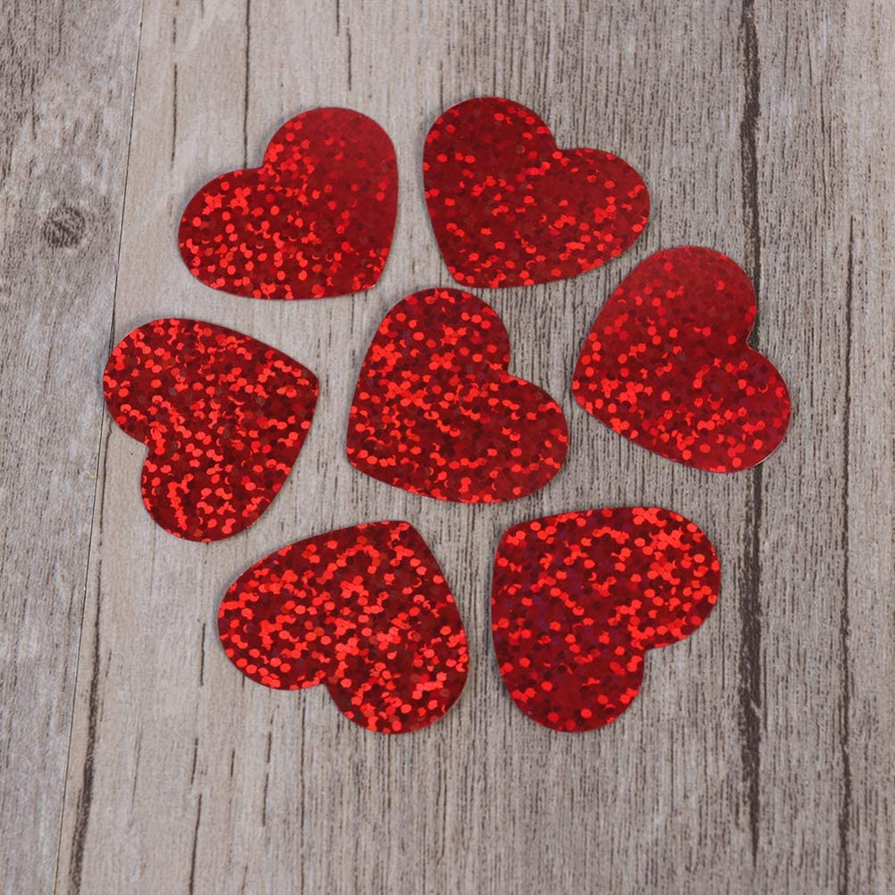 STOBOK Party Sequins Confetti Heart Shaped Glitter Sprinkles Foil Scatter Love Paper Confetti Ornament Table Wedding Valentines Day Decoration Holiday Supplies 400pcs Red