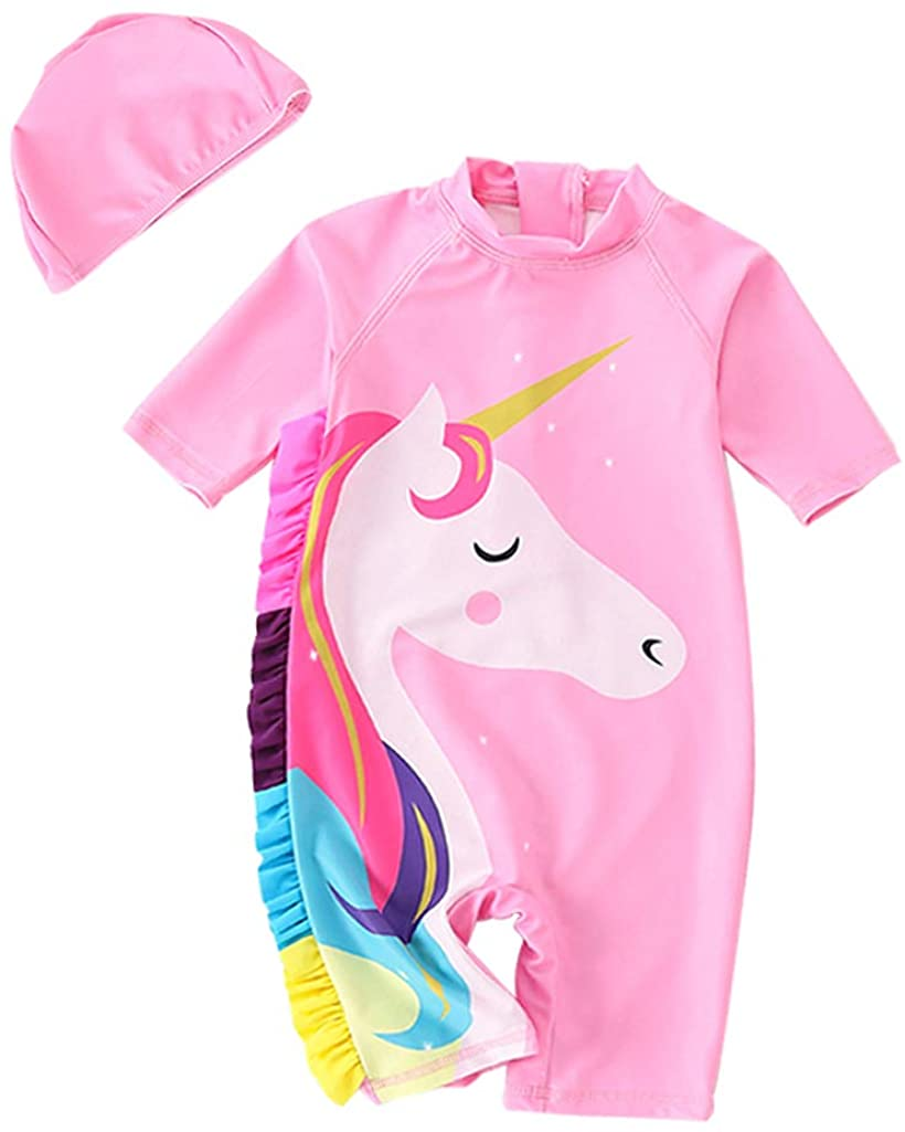 Toddler Swimsuit Girls One-Piece Bathing Suits Unicorn Kids Rash Guard Swimwear