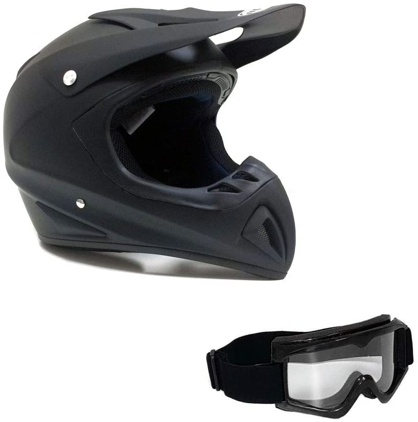 MMG Adult Motorcycle Off Road Helmet DOT, MX ATV Dirt Bike Motocross UTV (Medium, Matte Black). Includes Goggles