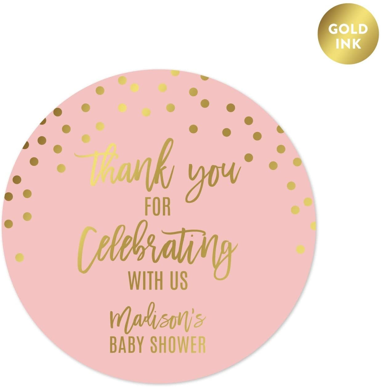 Andaz Press Blush Pink and Metallic Gold Confetti Polka Dots Baby Shower Party Collection, Personalized Round Circle Label Stickers, Thank You for Celebrating with US, 40-Pack, Custom