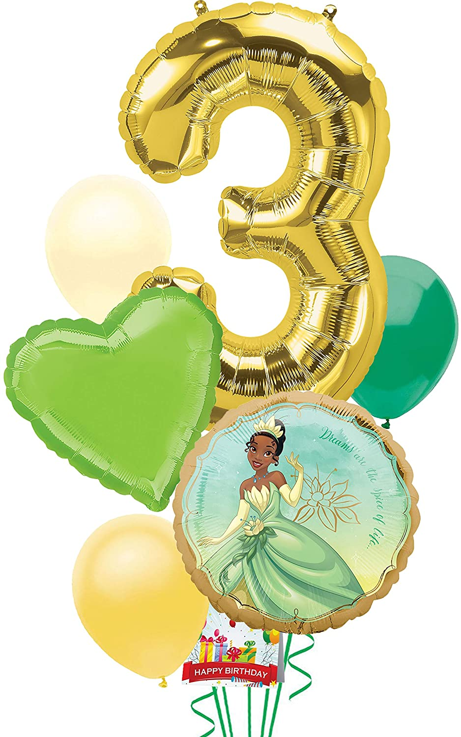 Princess and the Frog Tiana Party Supplies Balloon Decoration Bouquet Bundle for 3rd Birthday