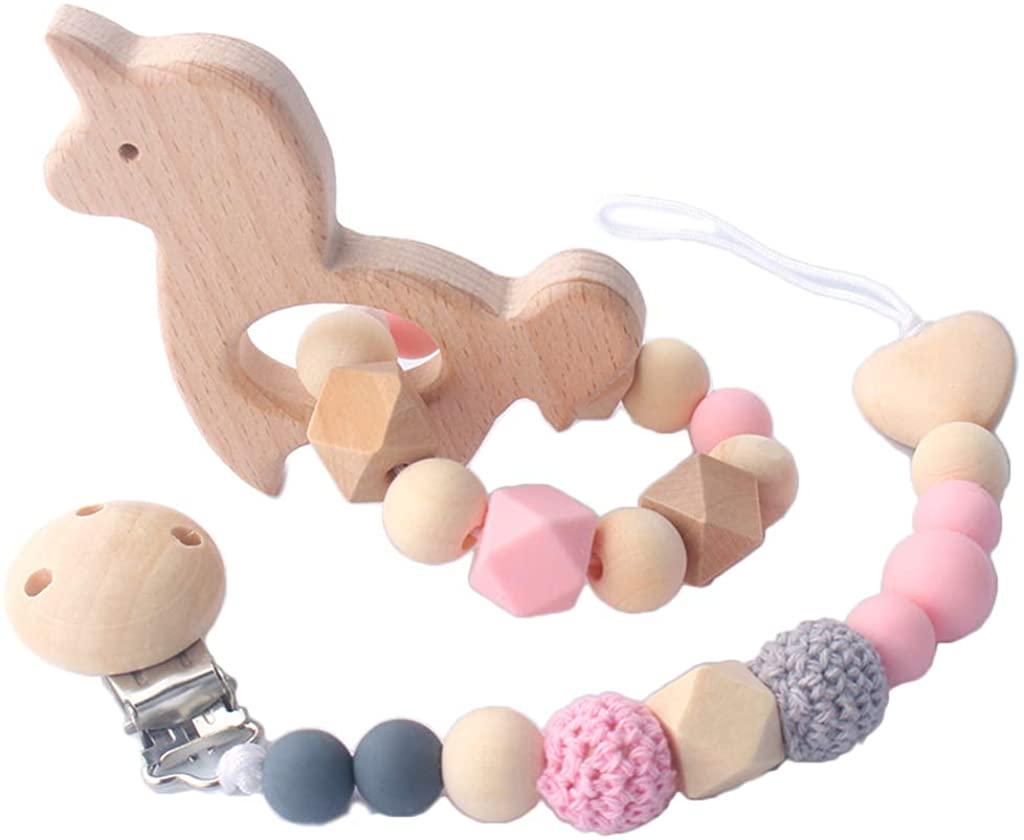 minansostey 2Pcs/Set Wood Baby Teeth Chew Toys Silicone Nipple Chain Teething Bracelet Toy