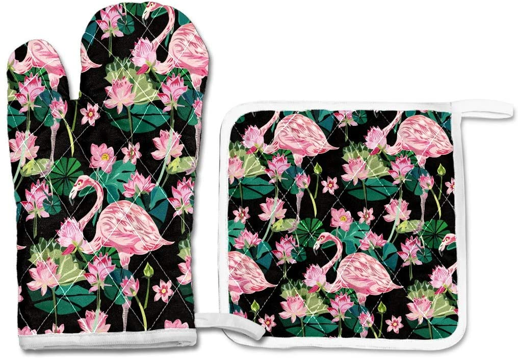 Oven Mitts and Pot Holders Set,Oven Glove Cooking Gloves Hot Pad,Set of 2 Heat Resistant BBQ Glove Gift for Kitchen Cooking Baking Grilling Exotic Flowers and Flamingos