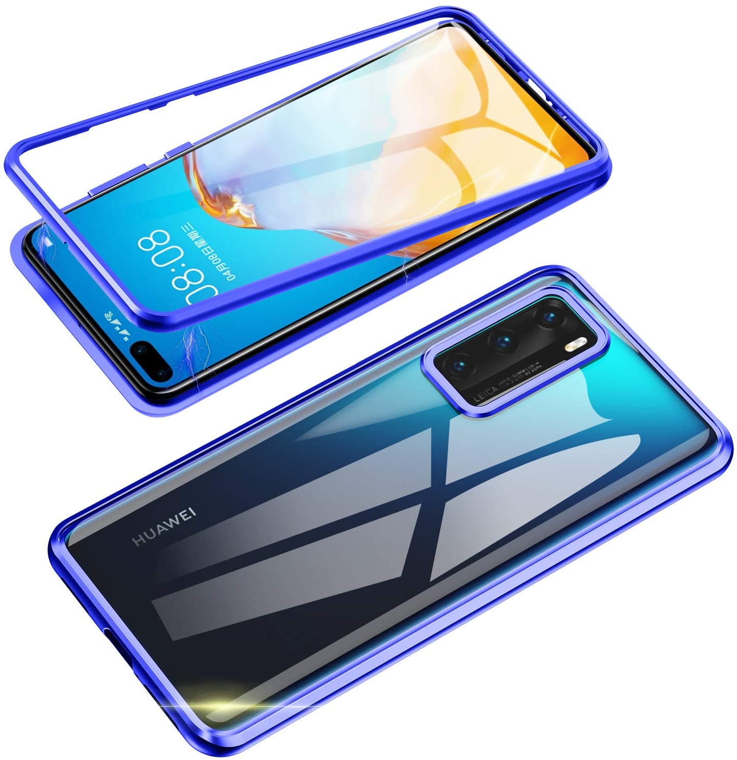 Jonwelsy Compatible with Huawei P40 (6.1 inch) Case, 360 Degree Front and Back Transparent Tempered Glass Cover, Strong Magnetic Adsorption Technology Metal Bumper for Huawei P40 (Blue)