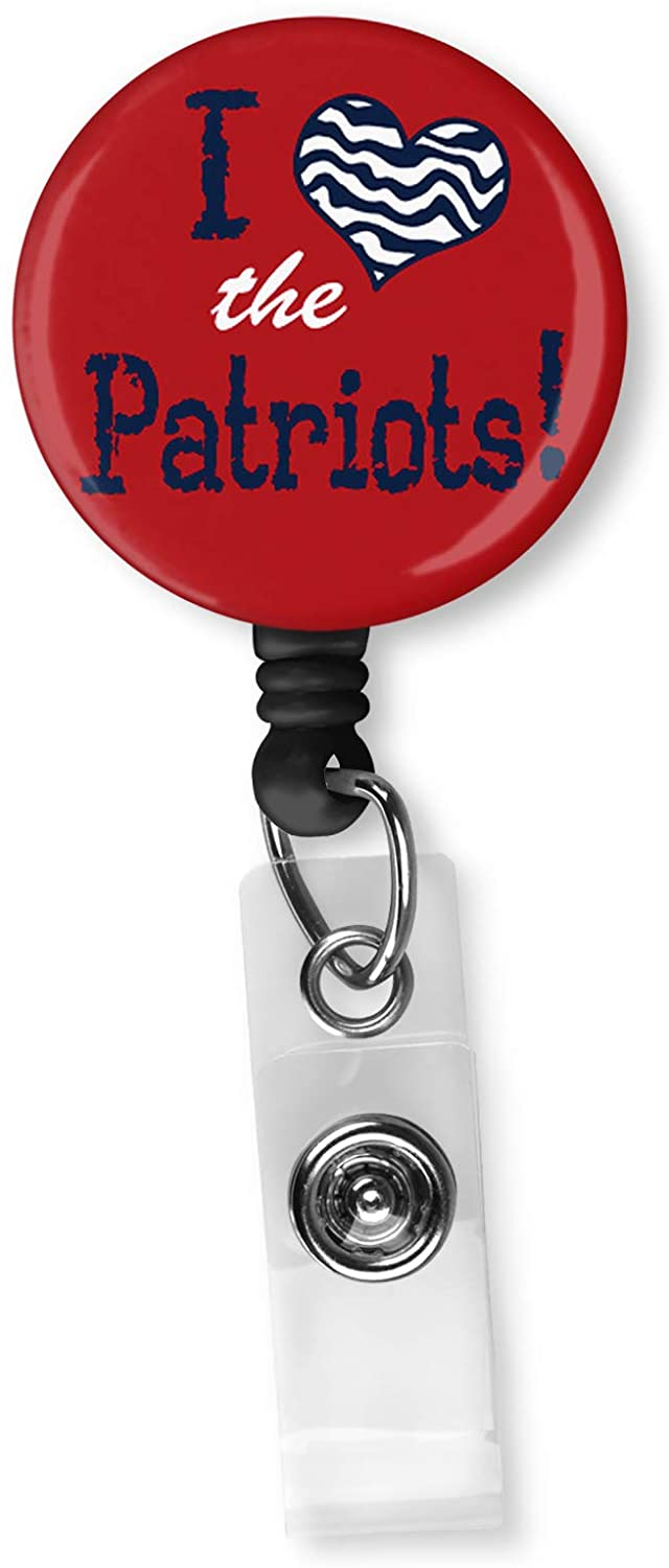Football Team Inspired Retractable ID Card Badge Holder with Alligator Clip Name Nurse Decorative Badge Reel Clip on Card Holders (I Heart The Patriots)
