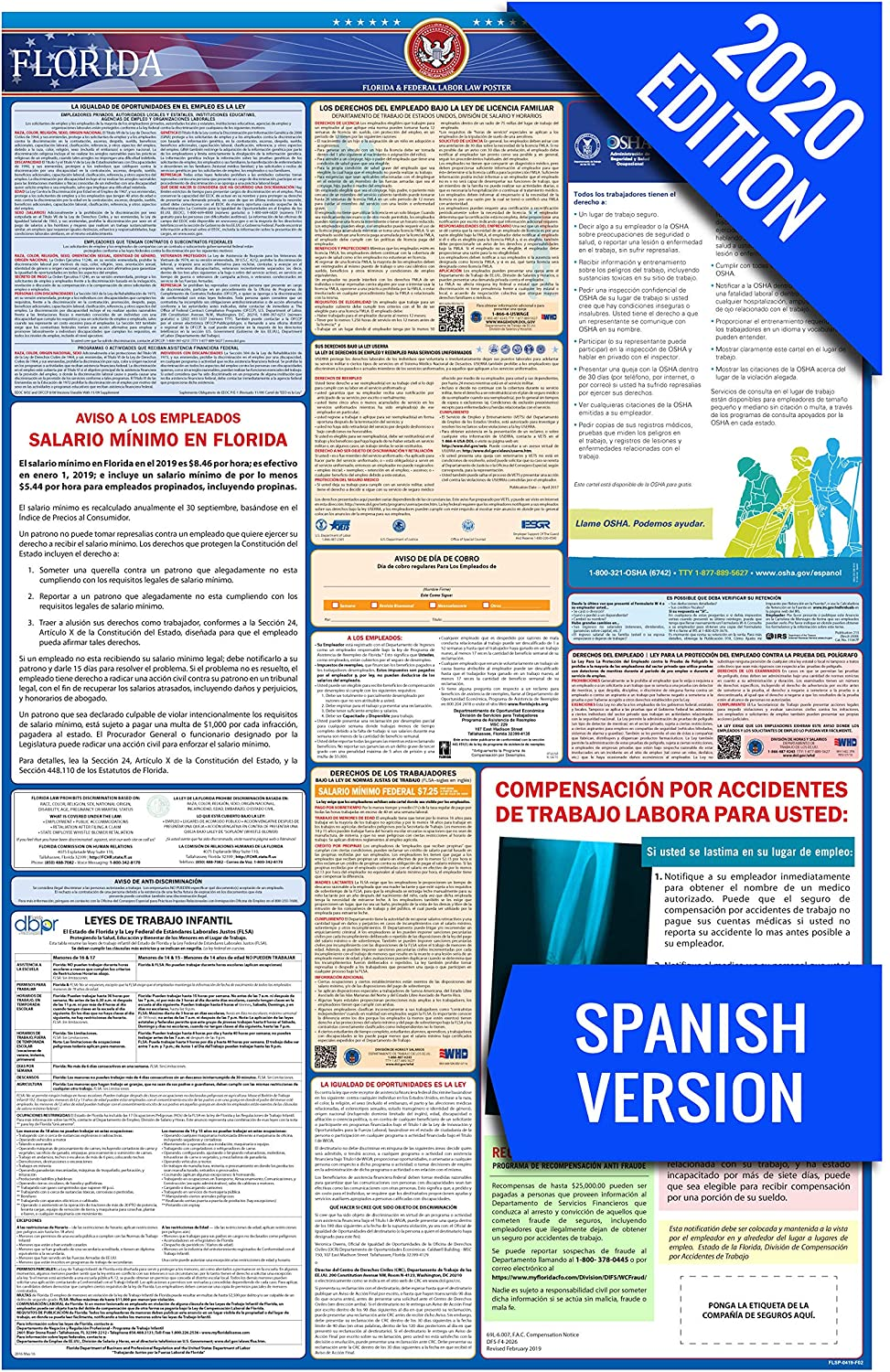 FL Labor Law Poster, 2020 Edition - State, Federal and OSHA Compliant Laminated Poster (Florida, Spanish)