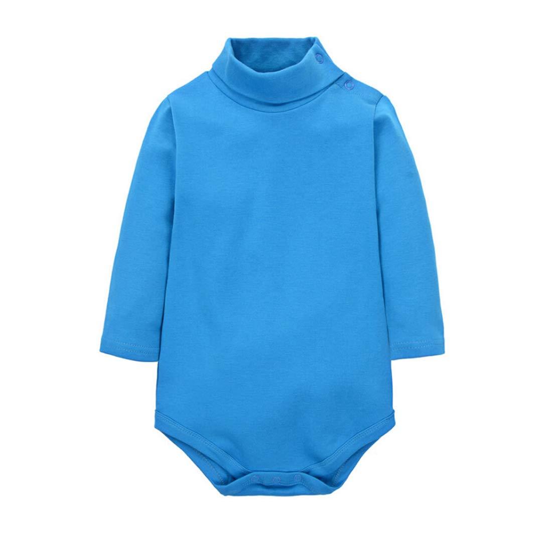 CuteOn Baby Boys Girls Solid Color Basic Turtleneck Cotton Bodysuit Jumpsuit Blue 24 Months