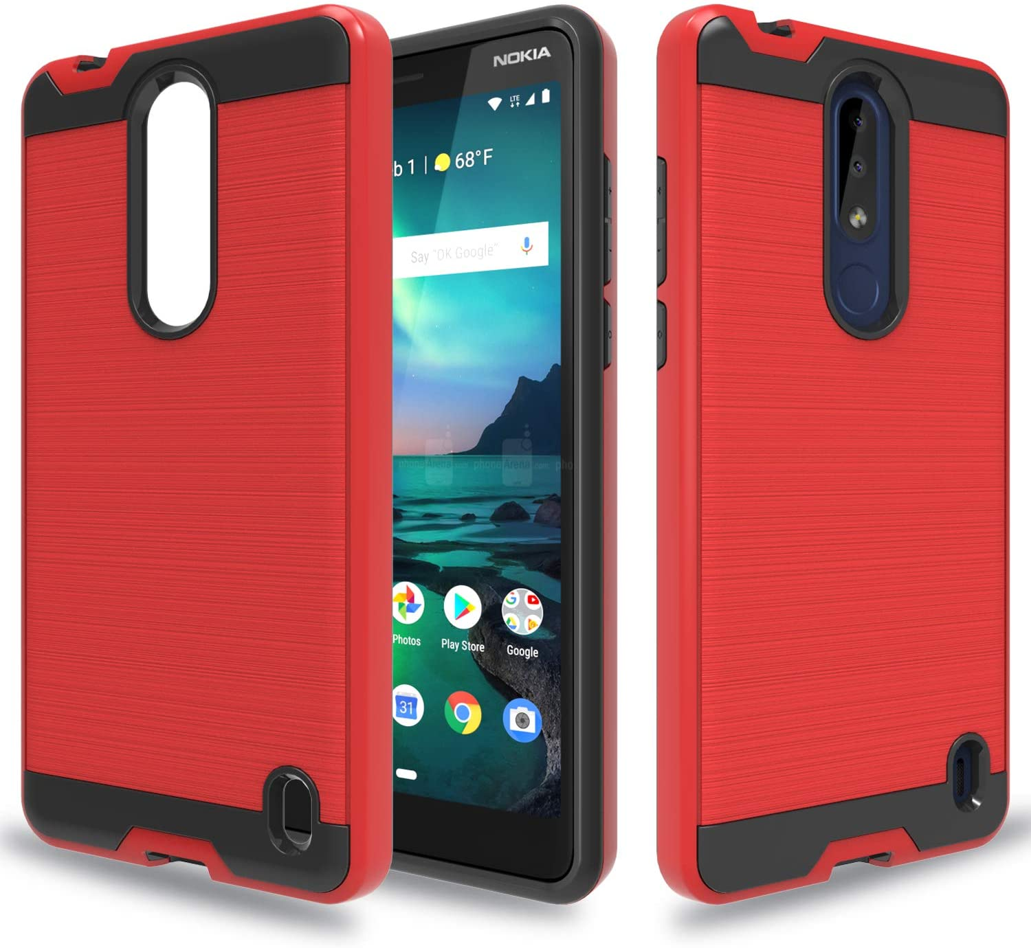 Wtiaw for:Nokia 3.1 Plus Case,Nokia 3.1 Plus Phone Cases,[TPU+PC Material] [Brushed Metal Texture] Hybrid Dual Layer Defender Case for Nokia 3.1 Plus-CL Red