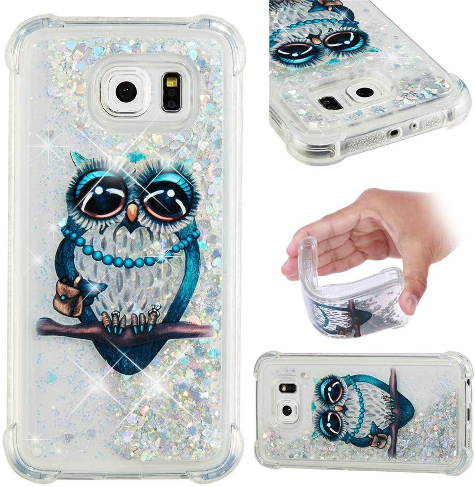 Asdsinfor Galaxy S6 Case Fashion Shiny Transparent Soft TPU Creative Cartoon Cute Quicksand with Shiny Flowing Liquid Cover for Samsung Galaxy S6 Gary Owl YB-LS