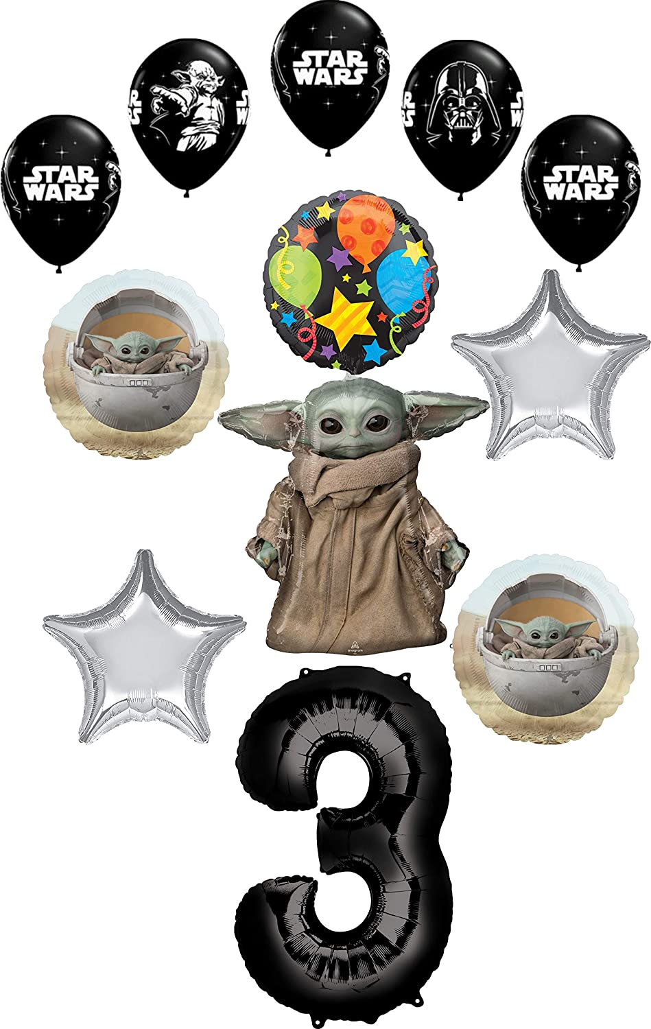 Star Wars Mandalorian the Child 3rd Birthday Party Supplies Baby Yoda Balloon Bouquet Decorations