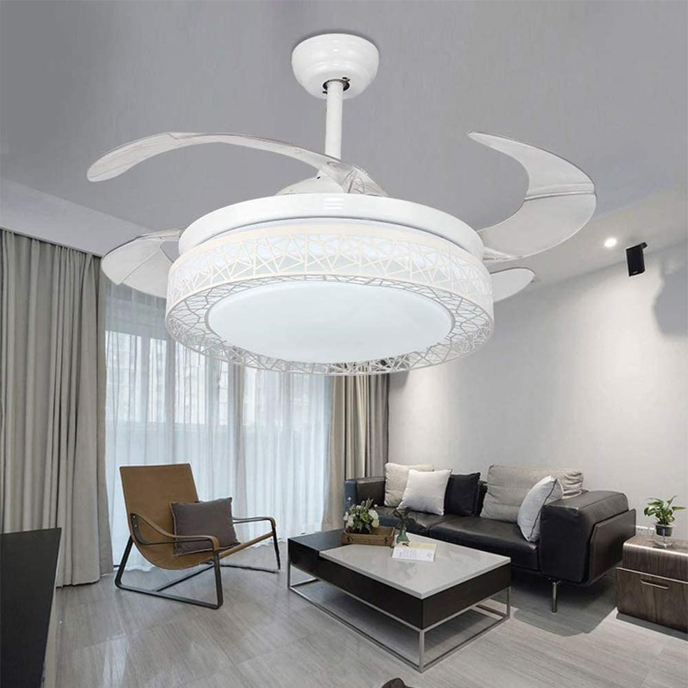 TFCFL 42 Inch LED Ceiling Fan Light with Remote Control 3 Colors Change Retractable Blades Chandelier Fan Light for Home Indoor with Bluetooth/without Bluetooth (White)