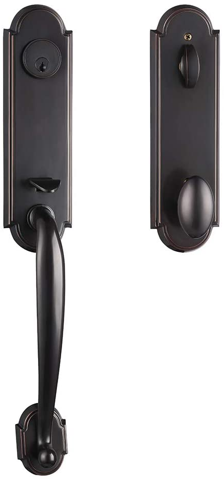 Brass Entry Double Door Handle Set Aged Bronze Finished,The Best Material for Door Lock,HC807-US10B-A-TMC