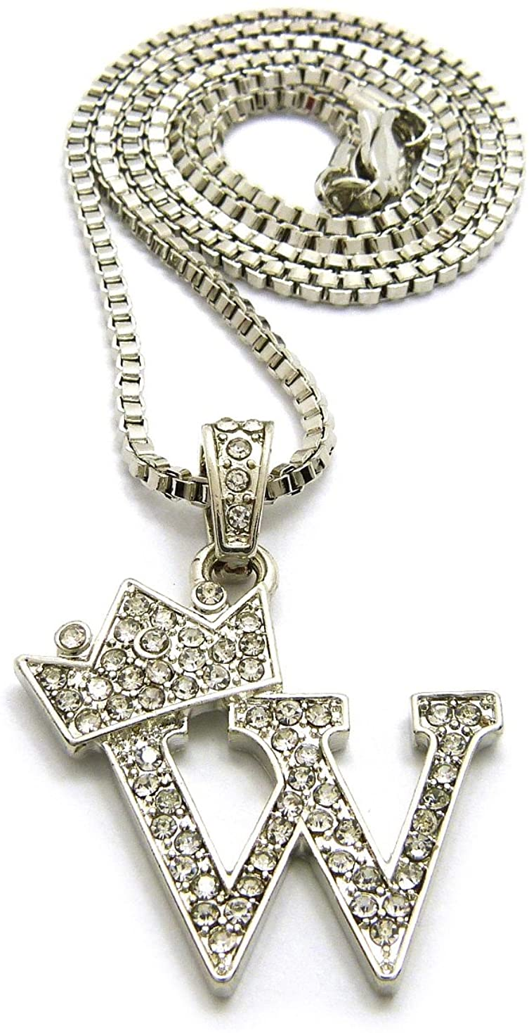 Crown Stone Stud King Small Initial Letter Pendant with 24