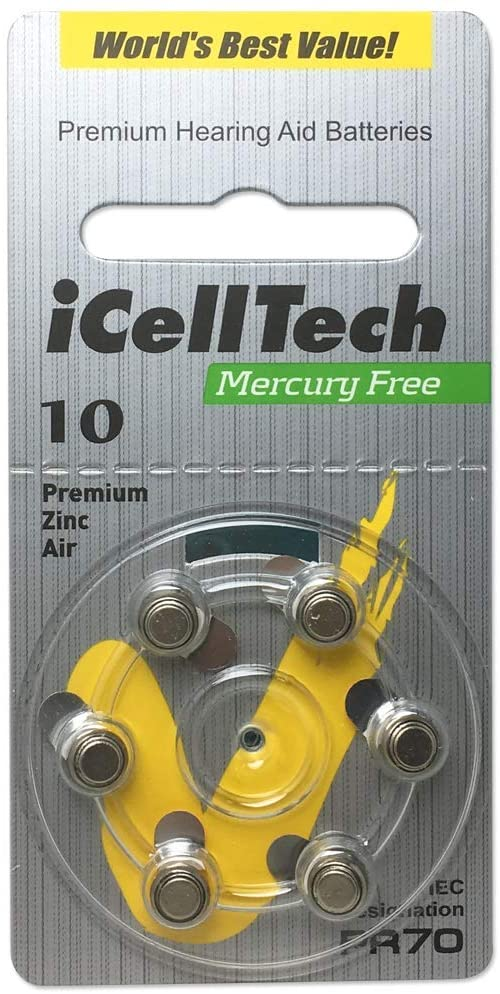 iCellTech Mercury Free Hearing Aid Batteries Size 10 (60 Batteries)
