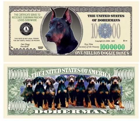 American Art Classics Pack of 5 - Doberman Pinscher Million Dollar Bills - Collectible Novelty Million Dollar Bills - Best Gift for Doberman Pinscher Fans