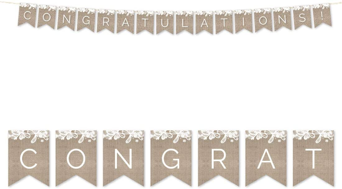 Andaz Press Burlap Lace Wedding Collection, Hanging Paper Pennant Party Banner with String, Congratulations!, 5-Feet, 1 Set, Not Burlap Fabric, Includes String