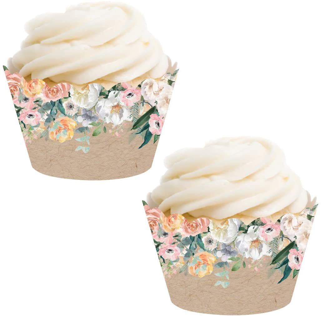 Andaz Press Party Cupcake Wrapper Decorations, Peach Florals on Kraft Brown, 24-Pack, for Girls 1st Birthday Baby Bridal Shower Tea Party Themed Decorations