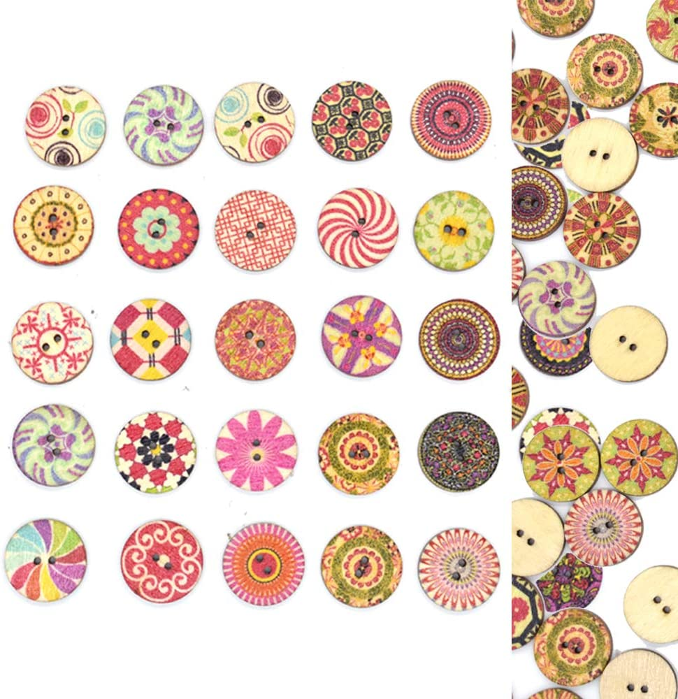 Renashed 200 Pcs Vintage Round Wooden Buttons with 2 Holes for DIY Sewing Crafts Scrapbooking Random Color (Vintage 20mm)