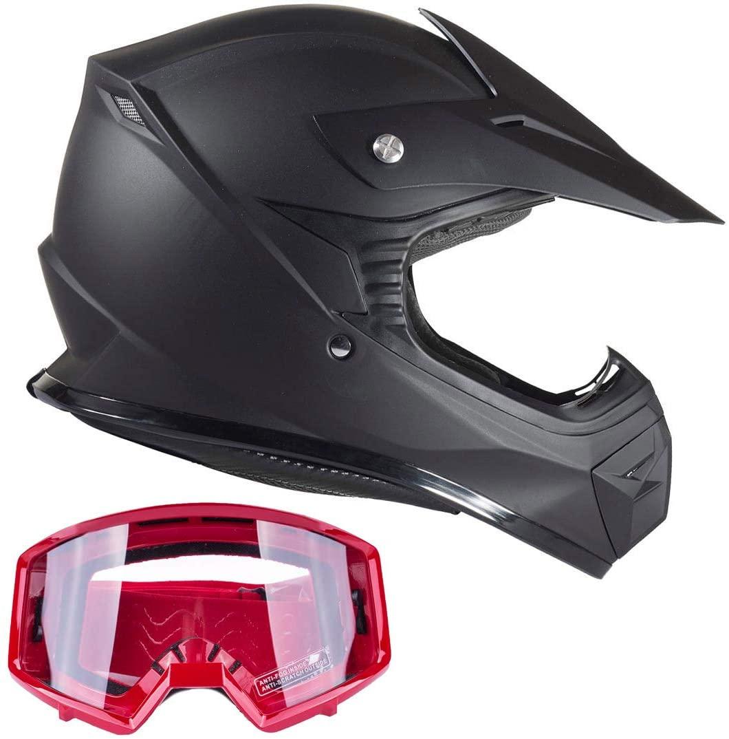 Typhoon Kids Youth Offroad Gear Combo Helmet & Goggles DOT Motocross ATV Dirt Bike MX Motorcycle Red Matte Black (small)