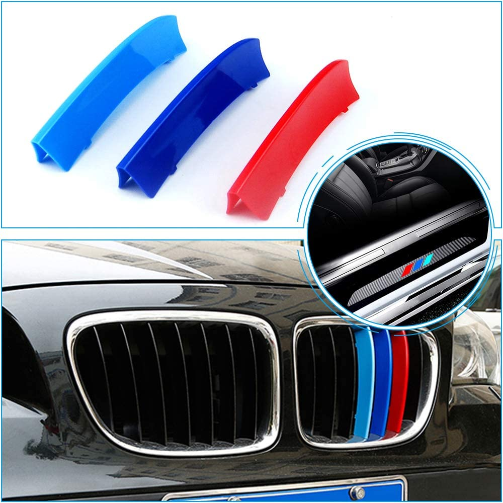 for 09-15 BMW X1 E84 (7Grilles one Side) M 3D Grill Stripes Accessories and Door Sill Protect Sticker with Logo 7Pcs