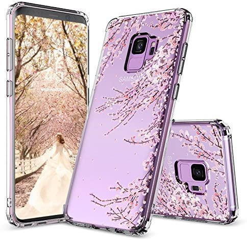 Galaxy S9 Case,Galaxy S9 Cover, MOSNOVO Cherry Blossom Floral Printed Flower Transparent Clear Design Plastic Hard Slim Back Case with TPU Bumper Protective Case Cover for Samsung Galaxy S9 (2018)