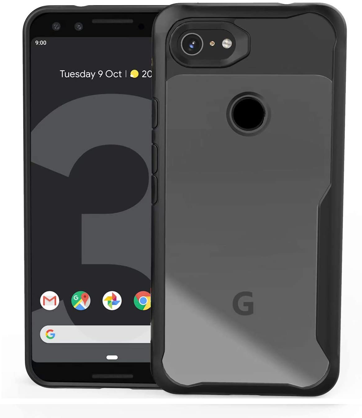 Lxlfcase for Google Pixel 3A Case 5.6inch (2019) Ultra-Thin Hybrid Cover Cases Shockproof Phone Case Designed for Google Pixel 3A (for Pixel 3A, Black+Clear)