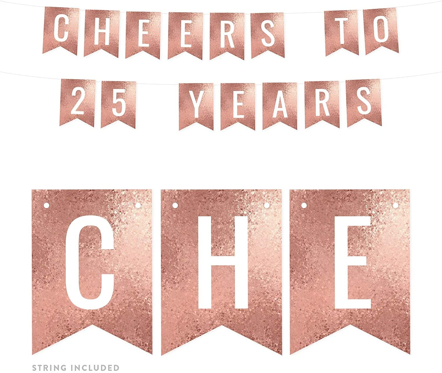 Andaz Press Rose Gold Glitter Mosaic Birthday Party Banner Decorations, Cheers to 25 Years, Approx 5-Feet, 1-Set, 25th Birthday Milestone Colored Hanging Pennant Decor
