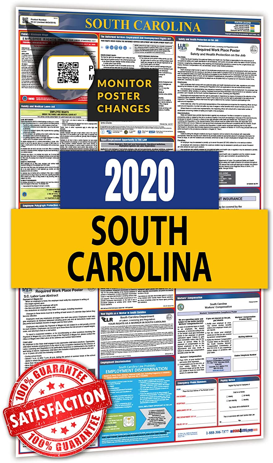2020 South Carolina All in One Labor Law Posters for Workplace Compliance