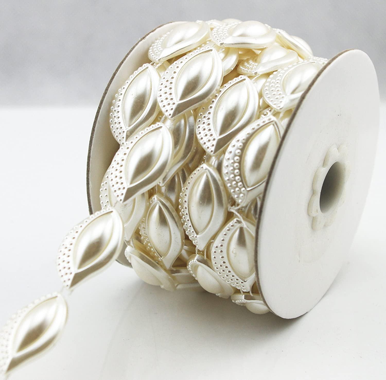 AEAOA 5 Yards 18mm Leaf Shaped Ivory Pearl Rhinestone Chain Sew On Trims Wedding Dress Decoration (LZ184)