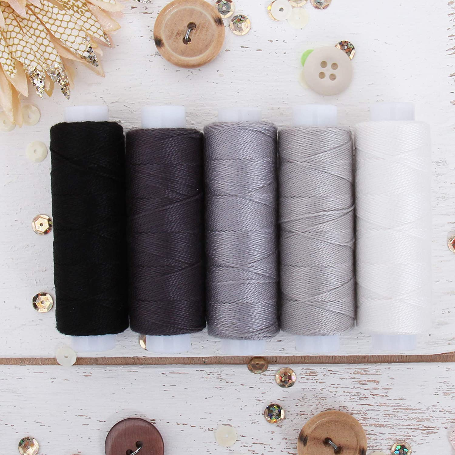 Threadart 5 Color Pearl Cotton Thread Set Grey Shades | 75yd Spools Size 8 | Perle Cotton for Friendship Bracelets, Crochet, Cross Stitch, Needlepoint, Hand Embroidery | 5 Grey Shades