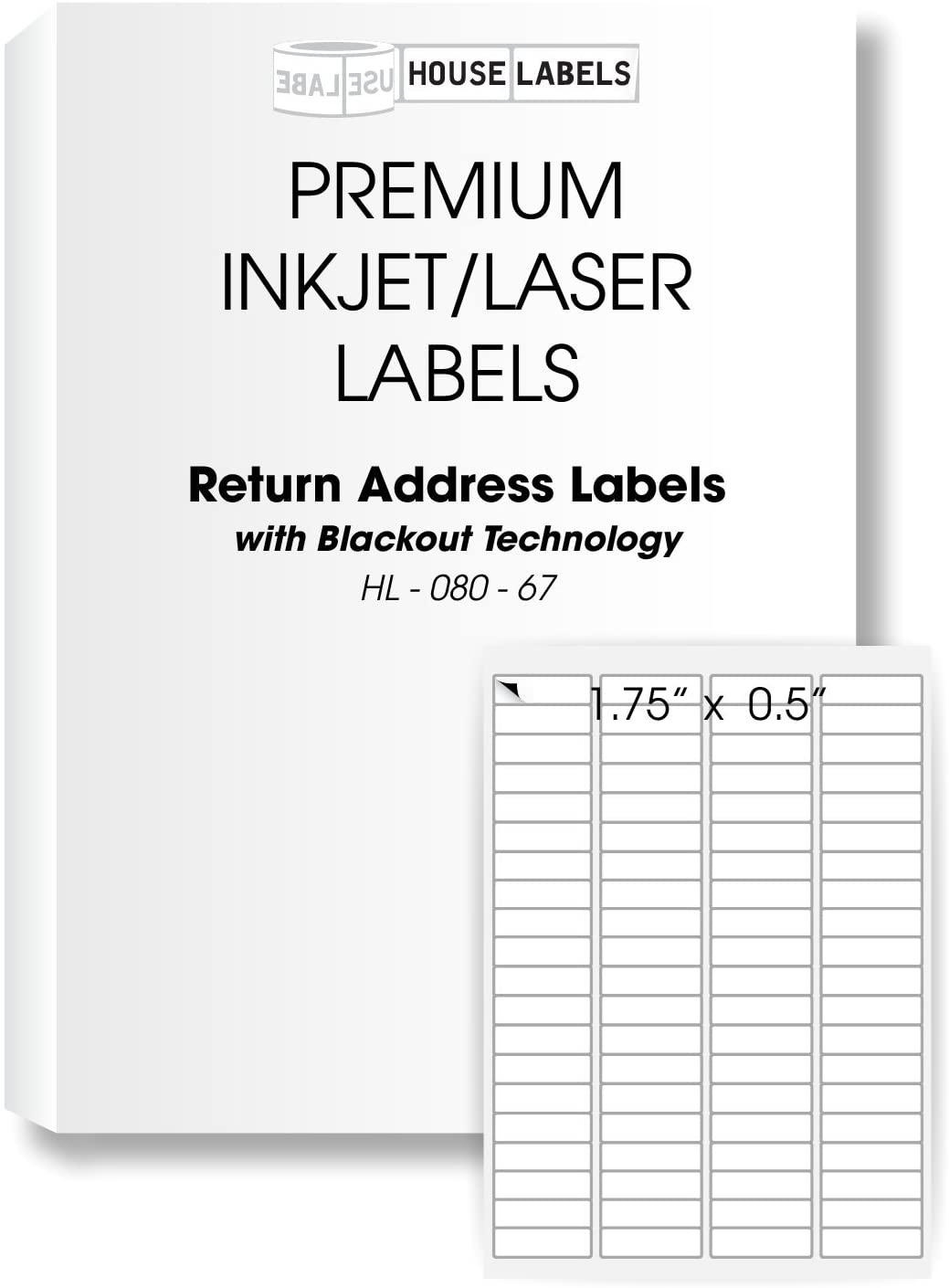 800 Sheets; 64,000 Labels Blackout Technology, 80-UP, Address Return Labels (1/2