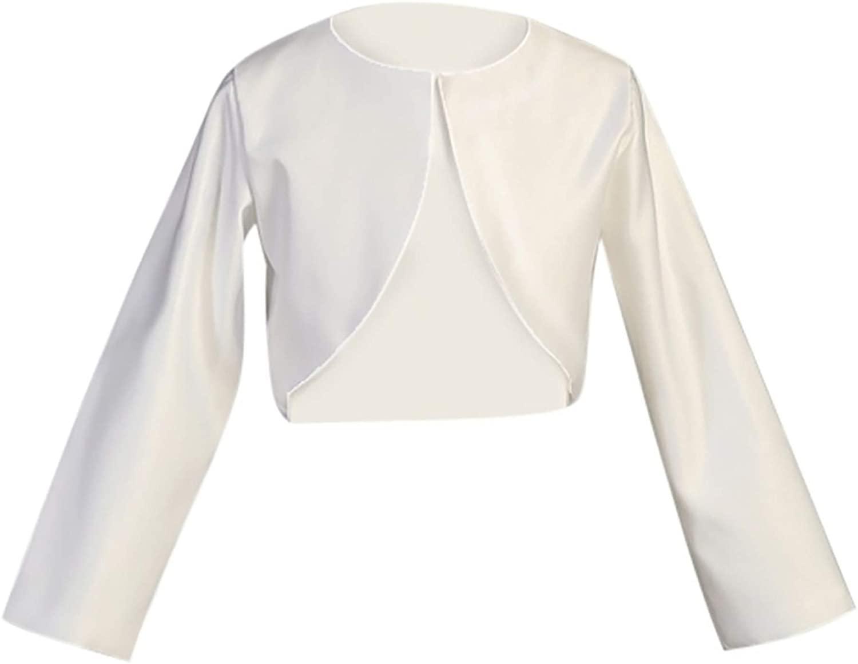 Girl's White Long Sleeve Satin Bolero Jacket - Size 5