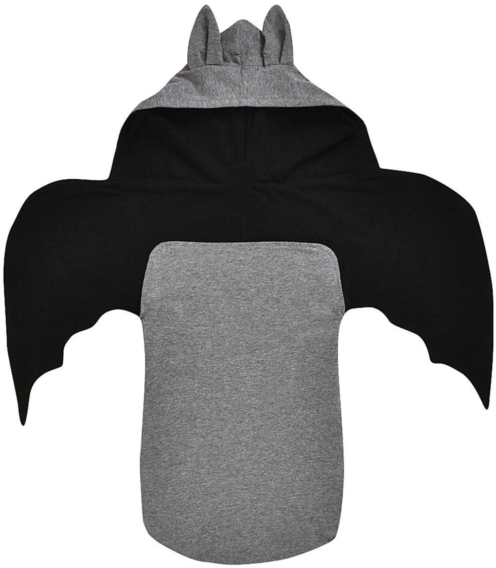 Newborn Baby Swaddle Blankets, Bat Romper Hooded Sleeping Bag for Girls Boys Kids (0-12 Month) Dark Gray