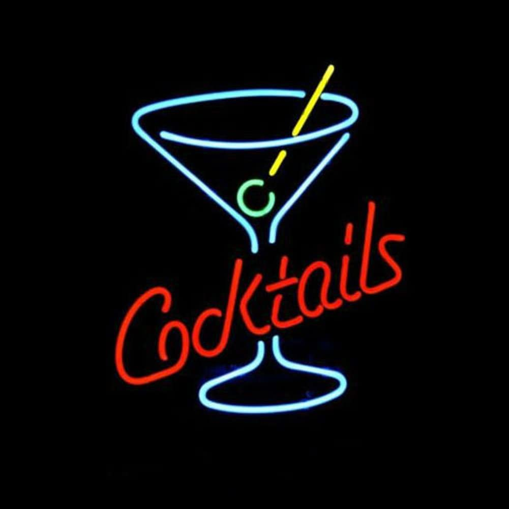 LiQi Cocktails Martini Glass LOGO BEER BAR REAL NEON LIGHT SIGN XMAS GIFT Home Pub Recreation Room Game Room Windows Garage Wall store Sign (17