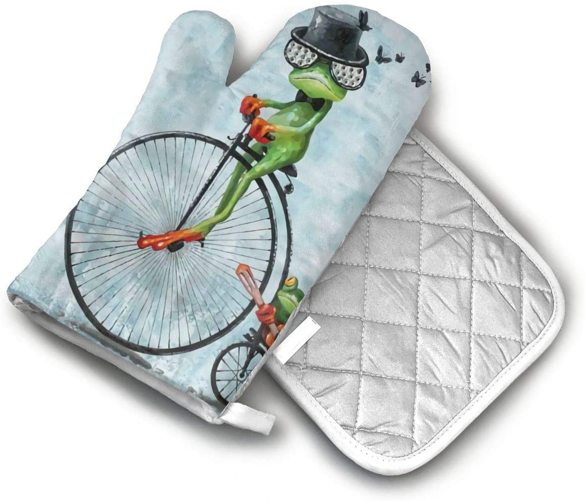 Acrobatic Magician Frog Oven Mitts and Potholders (2-Piece Sets) - Extra Long Professional Heat Resistant Pot Holder & Baking Gloves - Food Safe