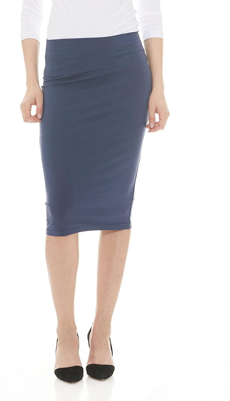 Esteez Womens Modest Lightweight Cotton Spandex Knee Pencil Skirt Navy XX-Large