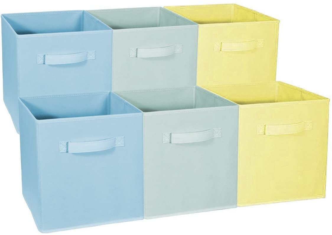 Sorbus Foldable Storage Cube Basket Bin - Great for Nursery, Playroom, Closet, Home Organization (Multi - Blue, Light Green, Yellow, 6 Pack)