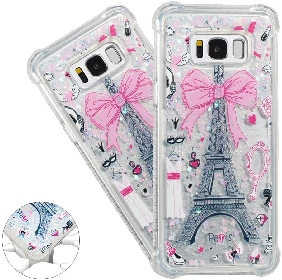 HMTECHUS Samsung Galaxy S8 Plus case Unique 3D Pattern Quicksand Diamonds Floating Shiny Glitter Flowing Liquid Shockproof Protect Silicone Cover for Samsung Galaxy S8 Plus Bling Eiffel Tower YB
