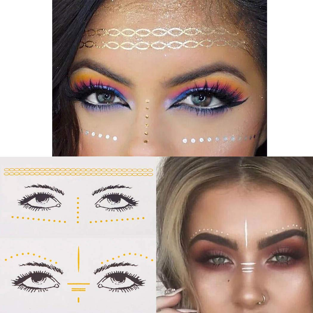Chicque Glitter Face Tattoo Fashion Face Stickers Eyes Face Jewels Rave Festival Face Jewelry for Women and Girls 4PCS