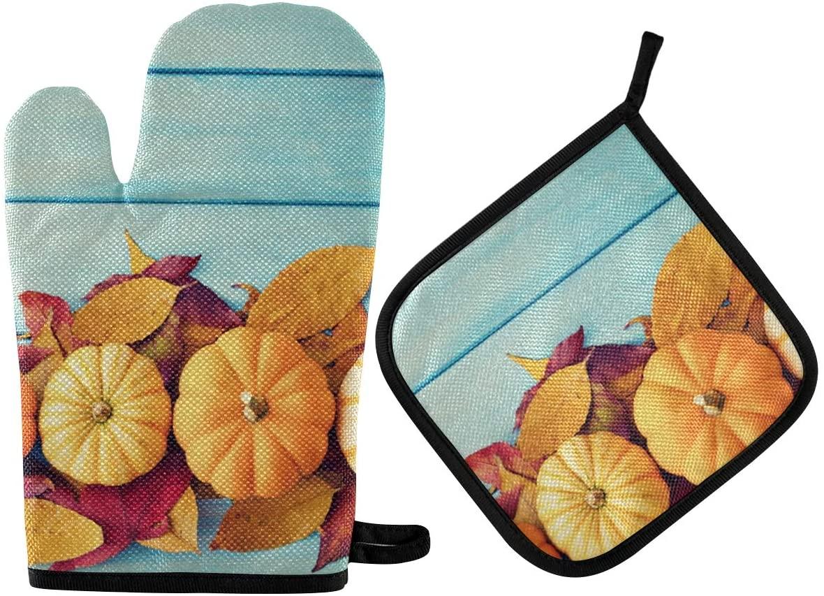 N/D Exnundod Pumpkin Leaves Board Oven Mitts & Pot Holders 2pcs Kitchen Heat Resistant Non-Slip Potholders Set for Cooking Baking BBQ