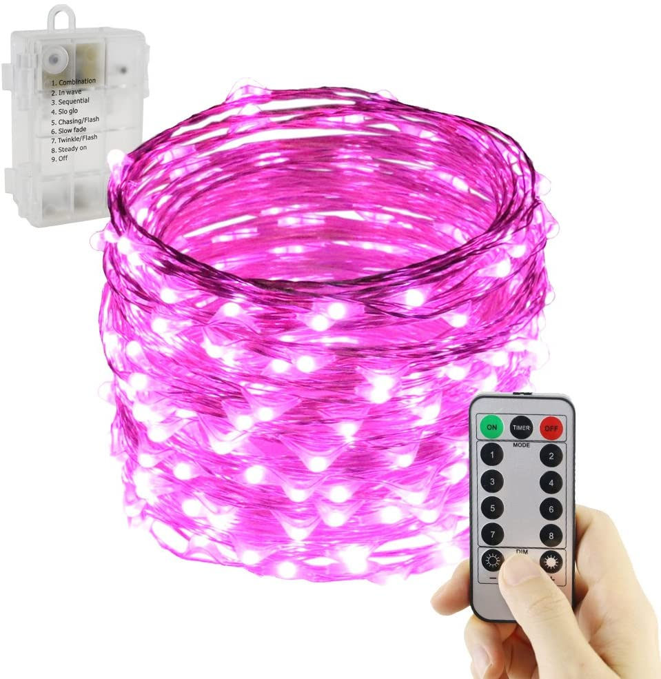 ER CHEN 8 Model Indoor and Outdoor Waterproof Battery Operated 200 LED String Lights on 66 Ft Long Ultra Thin Silver Coating Copper Wire Lights with 13 Key Remote Control(Pink)
