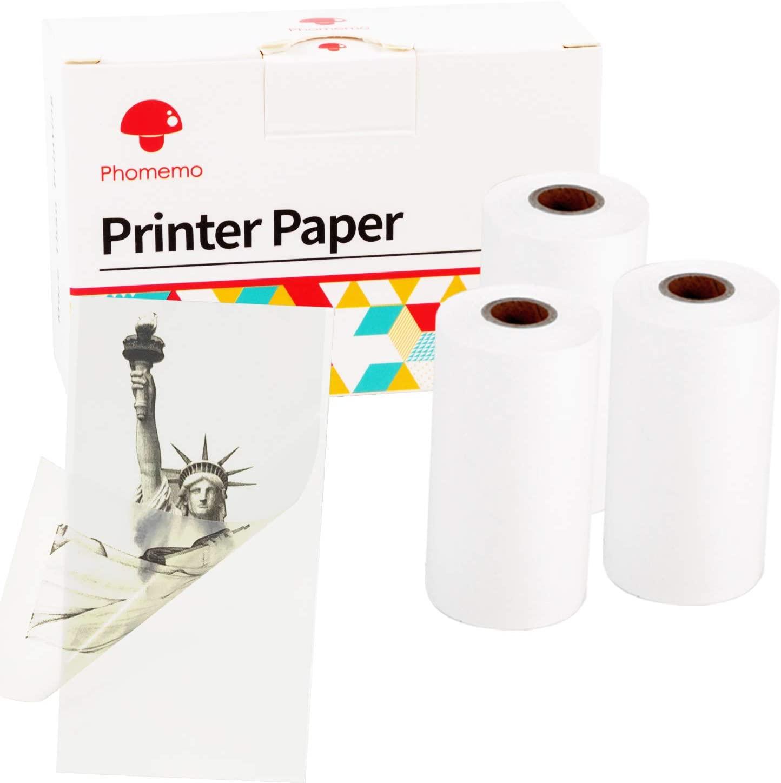 Phomemo Printable Self-Adhesive Thermal Paper, Translucent Sticker Paper for M02/ M02 Pro/ M02S Bluetooth Pocket Mobile Printer, 50mm x 3.5m, Diameter 30mm, 3 Rolls